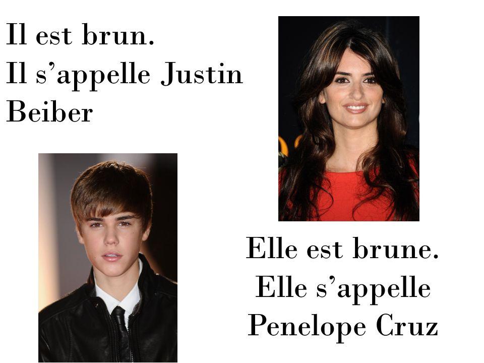 Il est brun. Il sappelle Justin Beiber Elle est brune. Elle sappelle Penelope Cruz