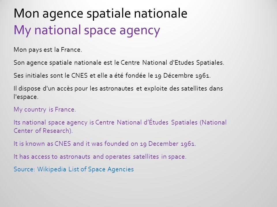 Mon pays est la France. Son agence spatiale nationale est le Centre National d'Etudes Spatiales. Ses initiales sont le CNES et elle a été fondée le 19