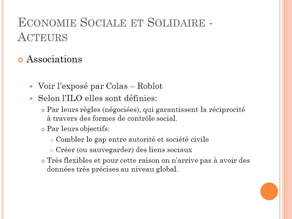 E CONOMIE S OCIALE ET S OLIDAIRE - A CTEURS Associations Voir lexposé par Colas – Roblot Selon lILO elles sont définies: Par leurs règles (négociées), qui garantissent la réciprocité à travers des formes de contrôle social.