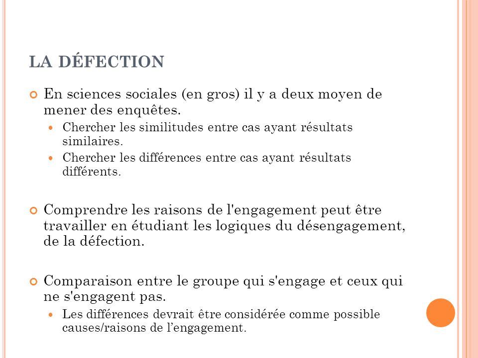 LA DÉFECTION En sciences sociales (en gros) il y a deux moyen de mener des enquêtes. Chercher les similitudes entre cas ayant résultats similaires. Ch
