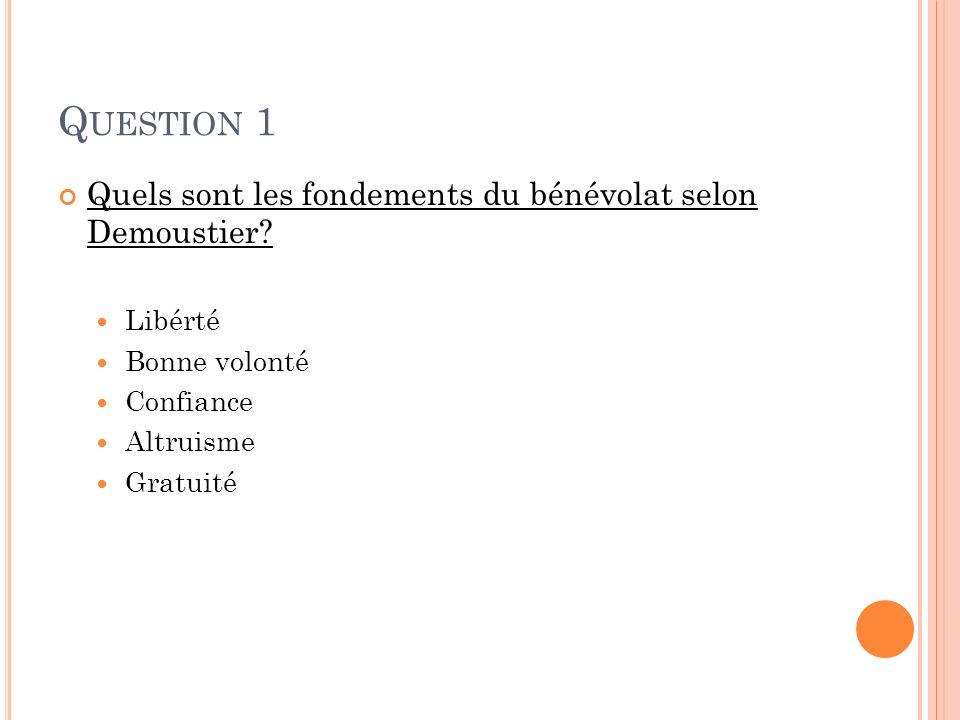 Q UESTION 1 Quels sont les fondements du bénévolat selon Demoustier? Libérté Bonne volonté Confiance Altruisme Gratuité