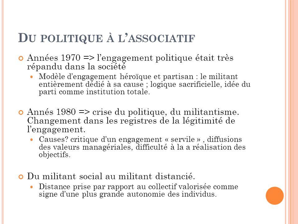 D U POLITIQUE À L ASSOCIATIF Années 1970 => lengagement politique était très répandu dans la société Modèle dengagement héroïque et partisan : le mili