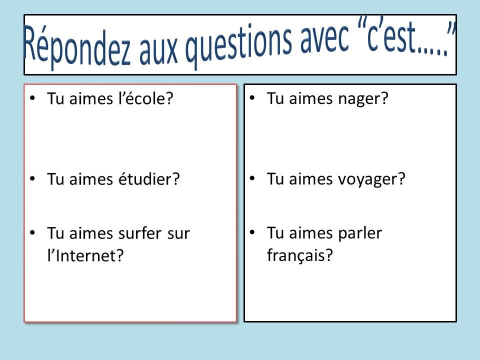 Tu aimes nager? Tu aimes voyager? Tu aimes parler français?