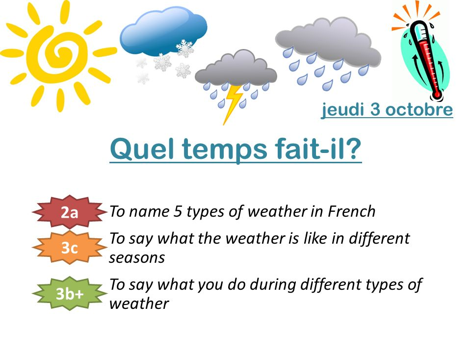 To name 5 types of weather in French – 2a To say what the weather is like in different seasons – 3c To say what you do during different types of weather – 3b+ Pour commencer Concours de dictionnaire.