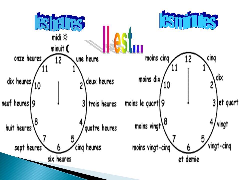 12 6 93 1 2 4 57 8 10 11 LHeure heure(s) … … cinq … dix … et quart … vingt … vingt-cinq … et demie … moins vingt-cinq … moins vingt … moins le quart … moins dix … moins cinq midi minuit