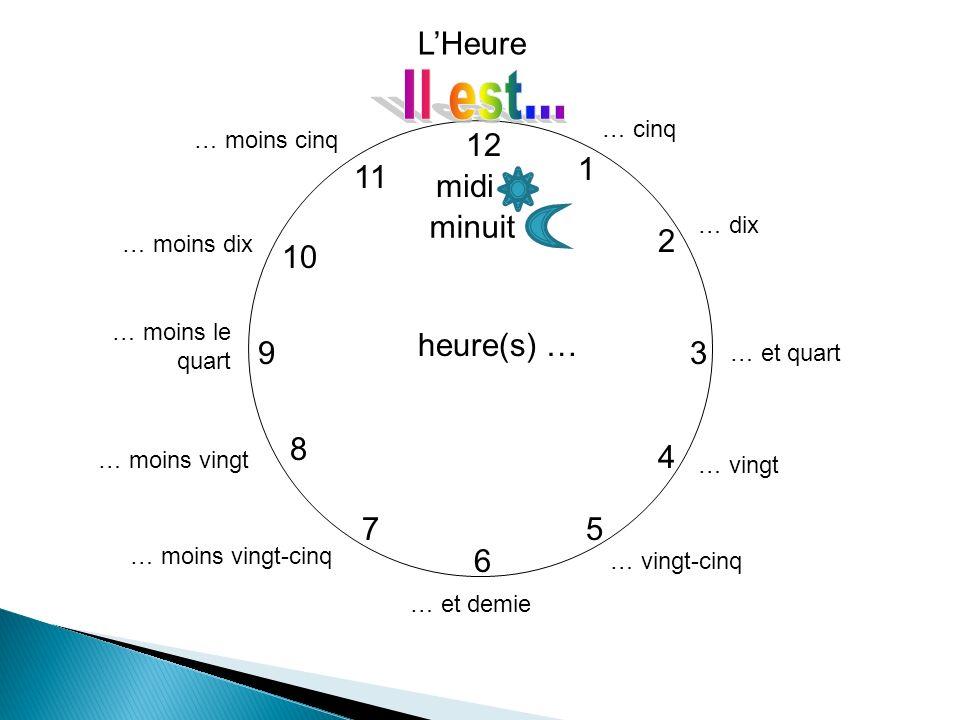 Il est huit heures Il est huit heures et quart Il est huit heures et demie Il est neuf heures moins le quart Il est midi Il est minuit Il est huit heures dix Il est neuf heures moins vingt