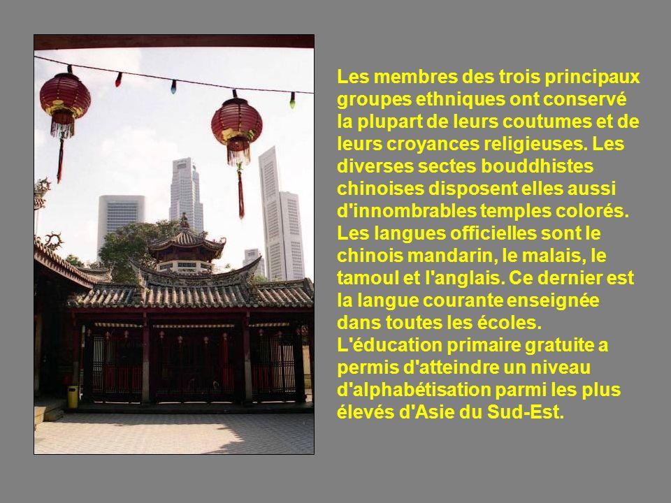 Les membres des trois principaux groupes ethniques ont conservé la plupart de leurs coutumes et de leurs croyances religieuses.