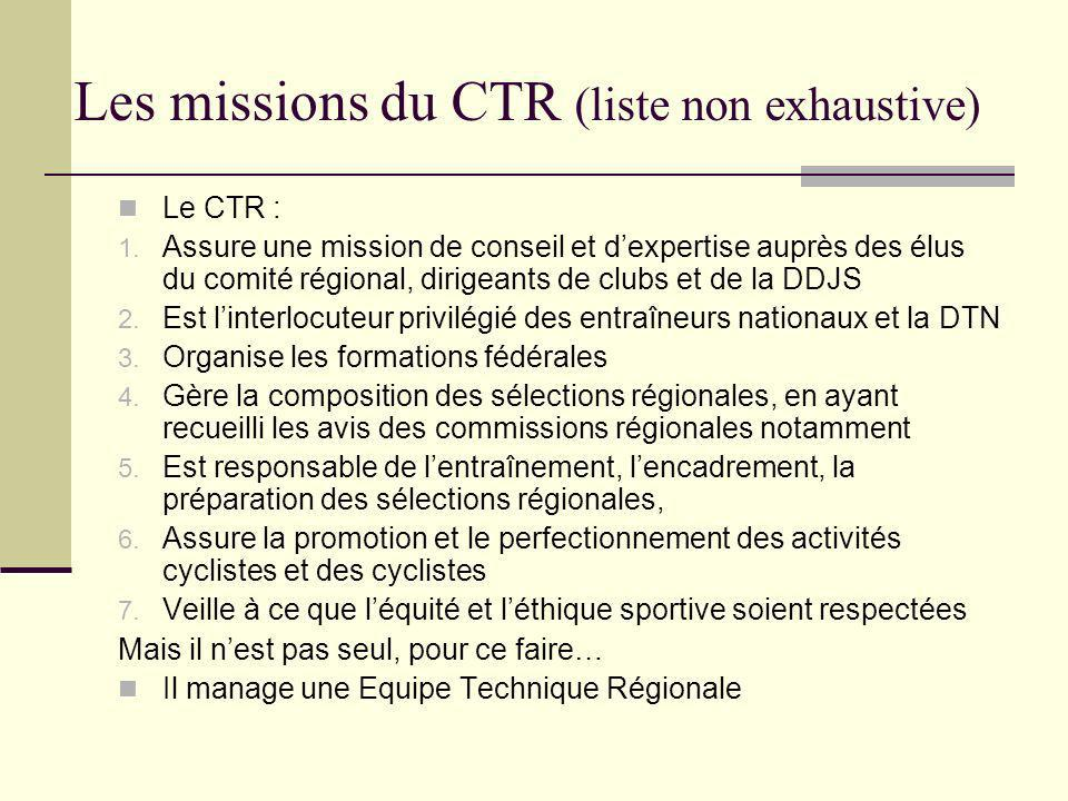 Les missions du CTR (liste non exhaustive) Le CTR : 1.
