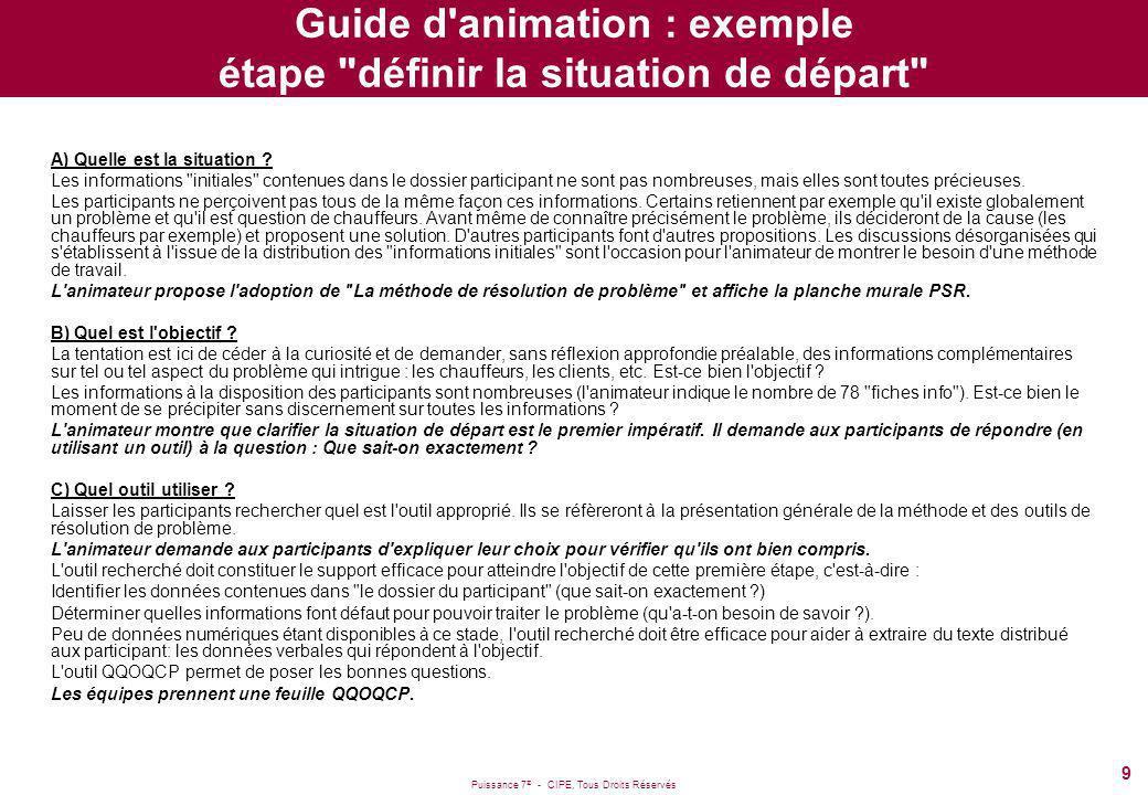 Puissance 7 ® - CIPE, Tous Droits Réservés 9 Guide d'animation : exemple étape