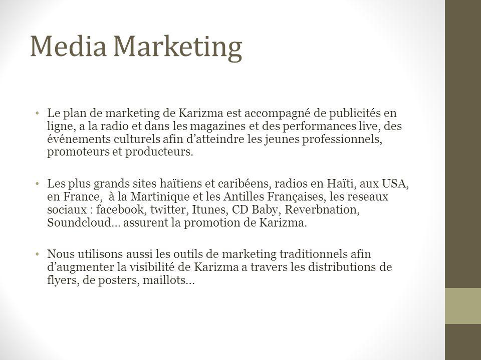 Media Marketing Le plan de marketing de Karizma est accompagné de publicités en ligne, a la radio et dans les magazines et des performances live, des événements culturels afin datteindre les jeunes professionnels, promoteurs et producteurs.