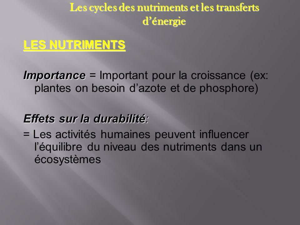 Les cycles des nutriments et les transferts dénergie LES NUTRIMENTS Importance Importance = Important pour la croissance (ex: plantes on besoin dazote