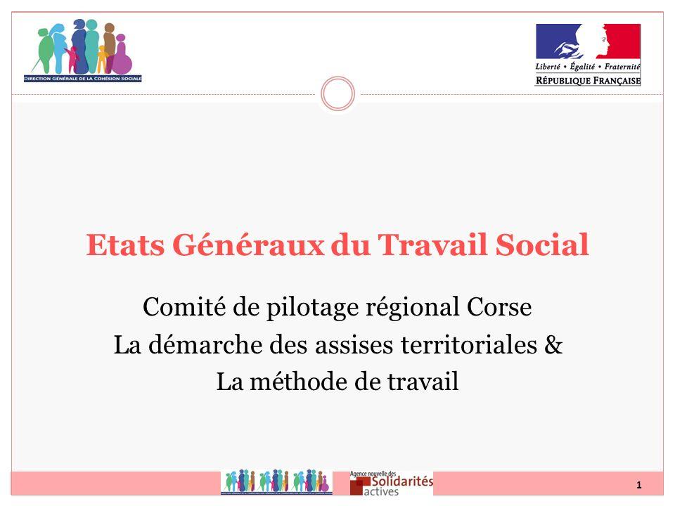 1 Etats Généraux du Travail Social Comité de pilotage régional Corse La démarche des assises territoriales & La méthode de travail