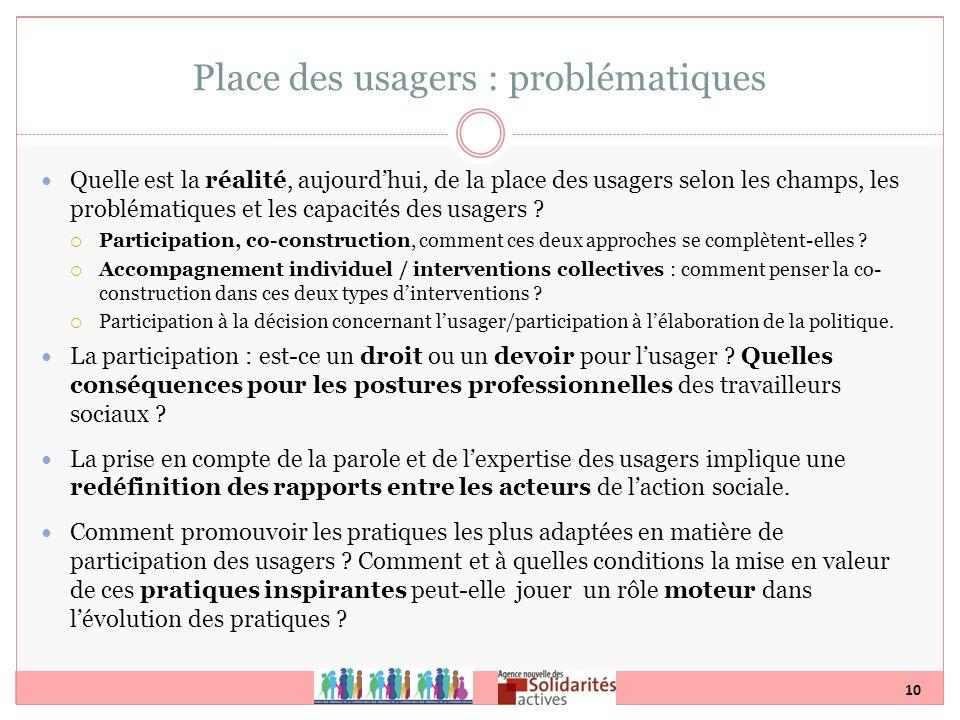 10 Place des usagers : problématiques Quelle est la réalité, aujourdhui, de la place des usagers selon les champs, les problématiques et les capacités