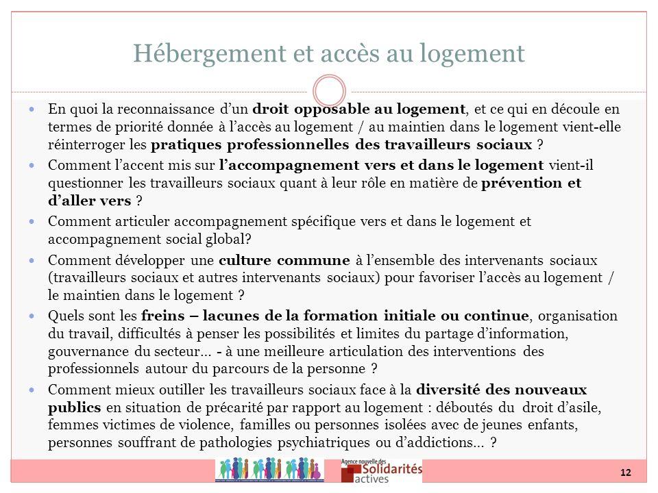 12 Hébergement et accès au logement En quoi la reconnaissance dun droit opposable au logement, et ce qui en découle en termes de priorité donnée à lac