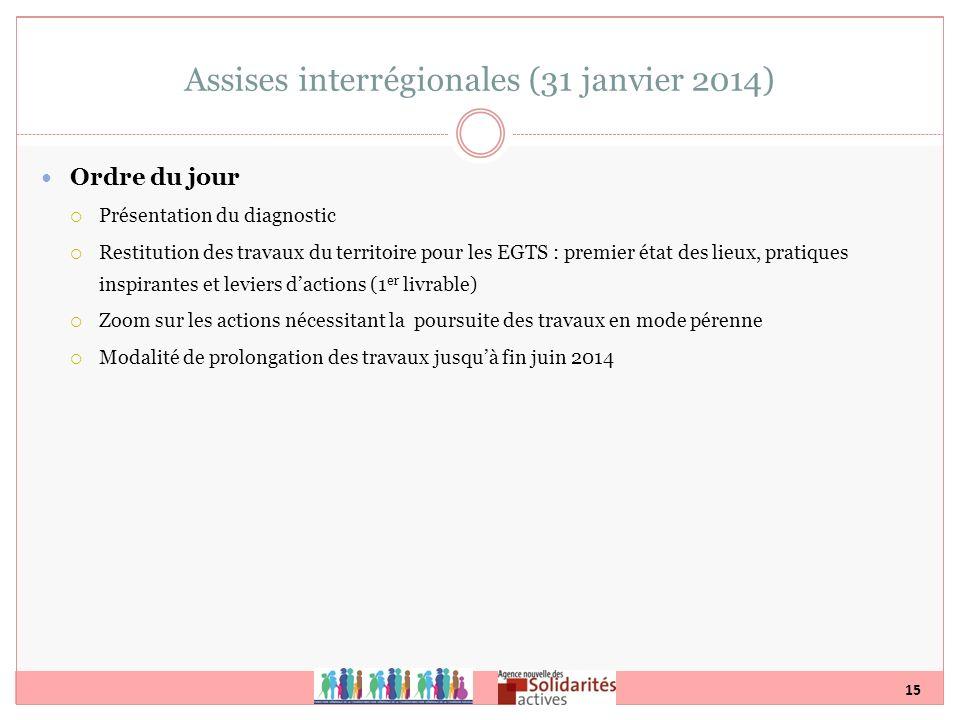 15 Assises interrégionales (31 janvier 2014) Ordre du jour Présentation du diagnostic Restitution des travaux du territoire pour les EGTS : premier ét
