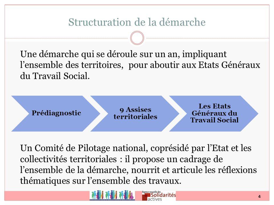 4 Une démarche qui se déroule sur un an, impliquant lensemble des territoires, pour aboutir aux Etats Généraux du Travail Social. Un Comité de Pilotag