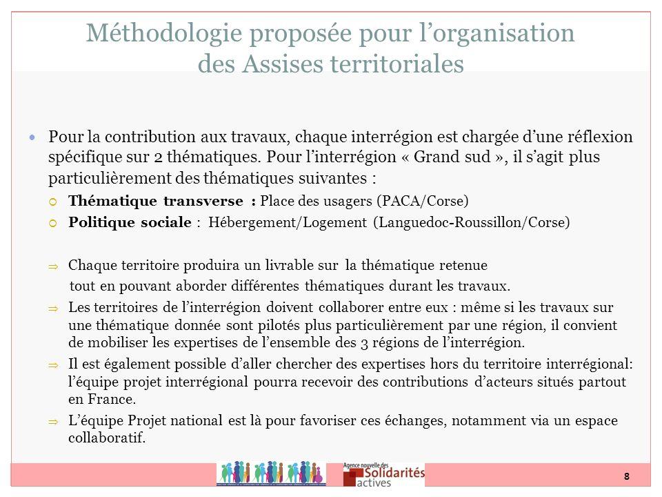 8 Méthodologie proposée pour lorganisation des Assises territoriales Pour la contribution aux travaux, chaque interrégion est chargée dune réflexion s