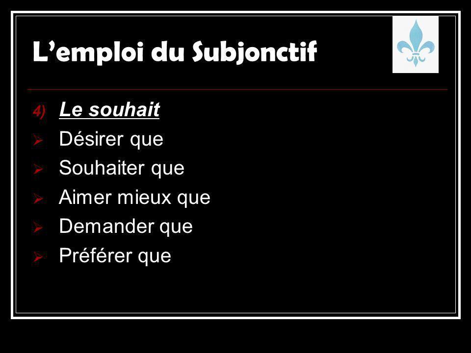 4) Le souhait Désirer que Souhaiter que Aimer mieux que Demander que Préférer que Lemploi du Subjonctif