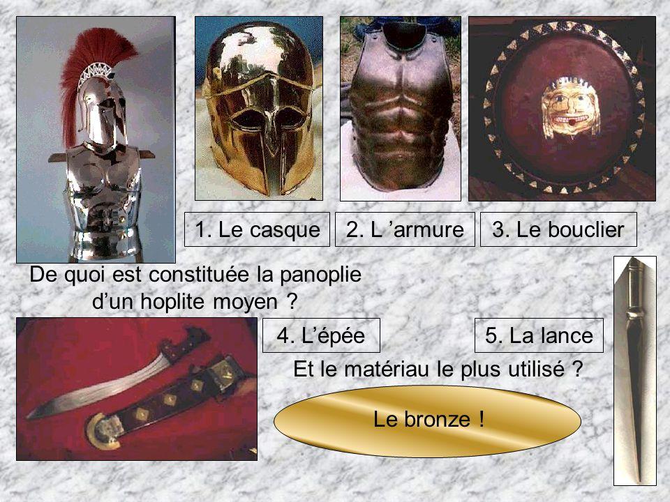 Un hoplite possède trois caractéristiques importantes : 1. Cest un citoyen libre 2. Il est assez riche pour acheter son équipement 3. Il est le défens