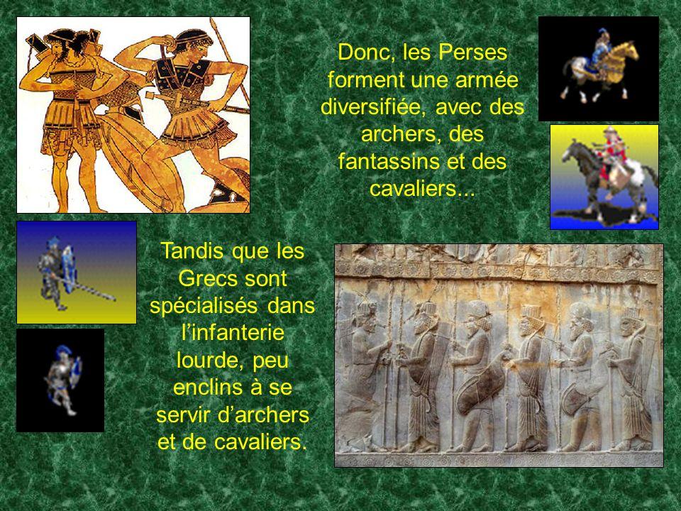 Quelles étaient les principales fonctions des guerriers perses ? 2. Archers 1. Lanciers 3. Cavaliers légers munis dun arc 4. Cavaliers lourds