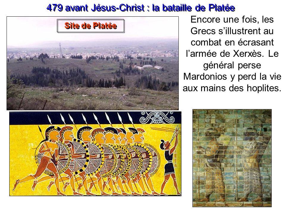 480 avant Jésus-Christ : la bataille de Salamine Dans la baie de Salamis, les 300 trières grecques, plus rapides, harcèlent les 500 lourdes galères or