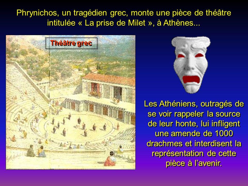 Darius réplique bientôt en mettant la ville de Milet à feu et à sang, infligeant ainsi une cruelle défaite aux Grecs. Milet aura beaucoup de peine à s