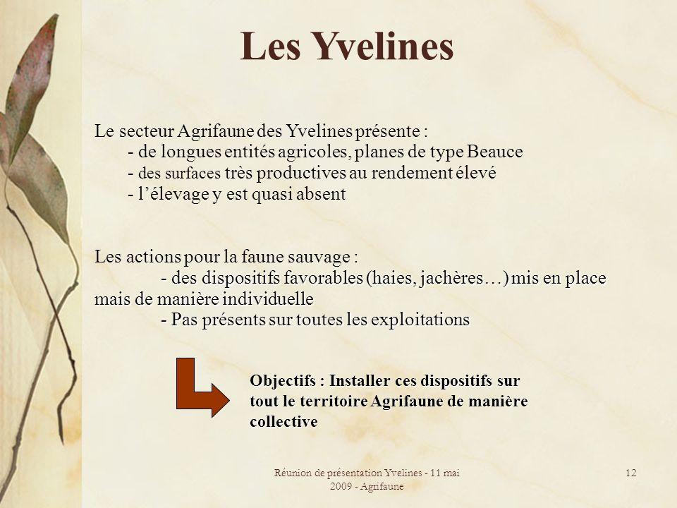 Réunion de présentation Yvelines - 11 mai 2009 - Agrifaune 12 Les Yvelines Le secteur Agrifaune des Yvelines présente : - de longues entités agricoles