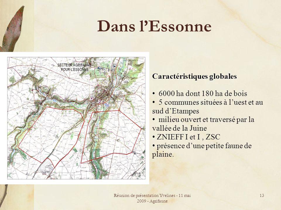 Réunion de présentation Yvelines - 11 mai 2009 - Agrifaune 13 Dans lEssonne Caractéristiques globales 6000 ha dont 180 ha de bois 5 communes situées à