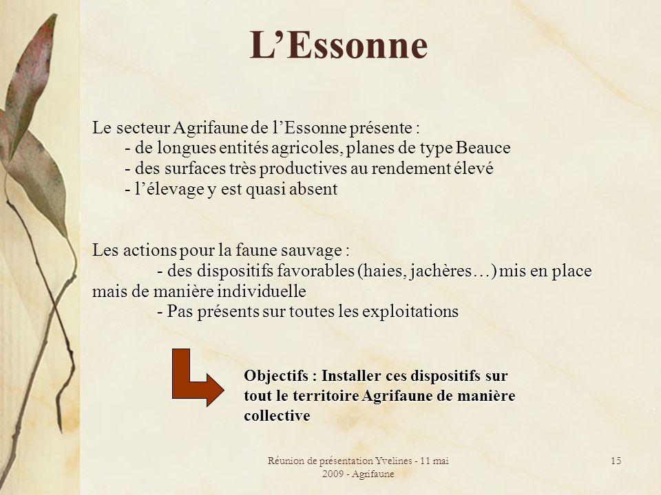 Réunion de présentation Yvelines - 11 mai 2009 - Agrifaune 15 LEssonne Le secteur Agrifaune de lEssonne présente : - de longues entités agricoles, pla