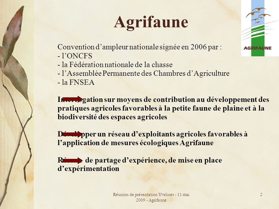 Réunion de présentation Yvelines - 11 mai 2009 - Agrifaune 2 Agrifaune Convention dampleur nationale signée en 2006 par : - lONCFS - la Fédération nat