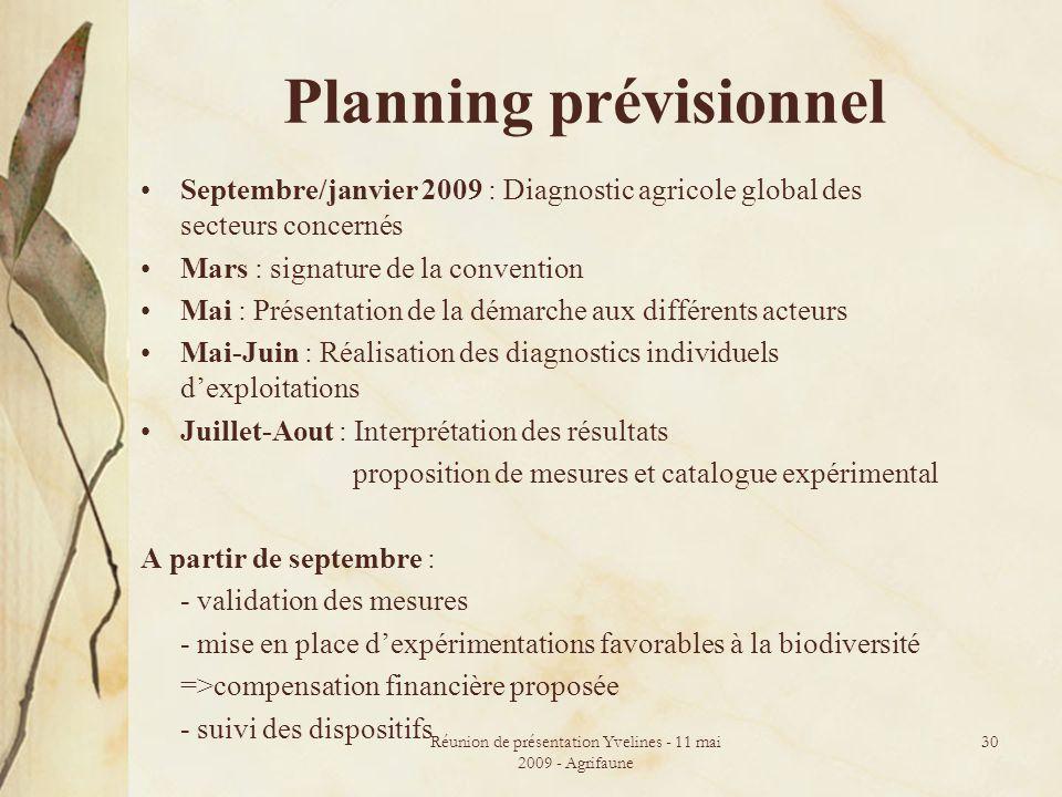 Réunion de présentation Yvelines - 11 mai 2009 - Agrifaune 30 Planning prévisionnel Septembre/janvier 2009 : Diagnostic agricole global des secteurs c