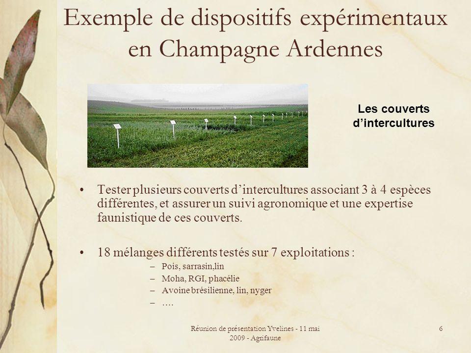 Réunion de présentation Yvelines - 11 mai 2009 - Agrifaune 6 Exemple de dispositifs expérimentaux en Champagne Ardennes Tester plusieurs couverts dintercultures associant 3 à 4 espèces différentes, et assurer un suivi agronomique et une expertise faunistique de ces couverts.