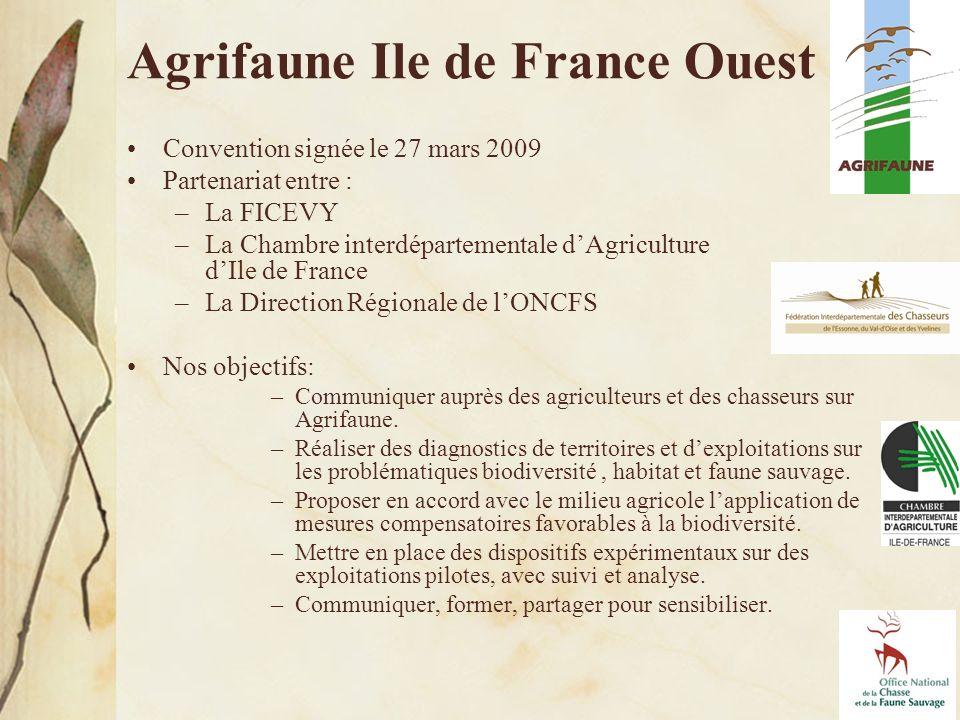 7 Convention signée le 27 mars 2009 Partenariat entre : –La FICEVY –La Chambre interdépartementale dAgriculture dIle de France –La Direction Régionale de lONCFS Nos objectifs: –Communiquer auprès des agriculteurs et des chasseurs sur Agrifaune.