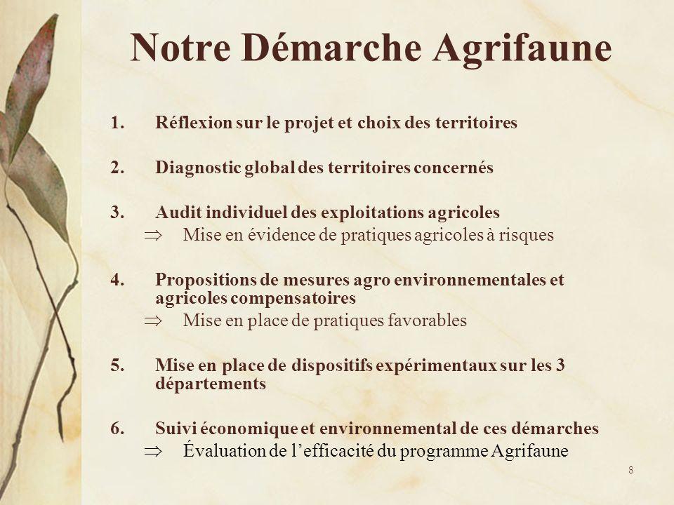 8 Notre Démarche Agrifaune 1.Réflexion sur le projet et choix des territoires 2.Diagnostic global des territoires concernés 3.Audit individuel des exp