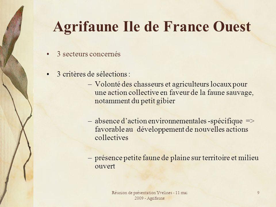 Réunion de présentation Yvelines - 11 mai 2009 - Agrifaune 9 Agrifaune Ile de France Ouest 3 secteurs concernés 3 critères de sélections : –Volonté de