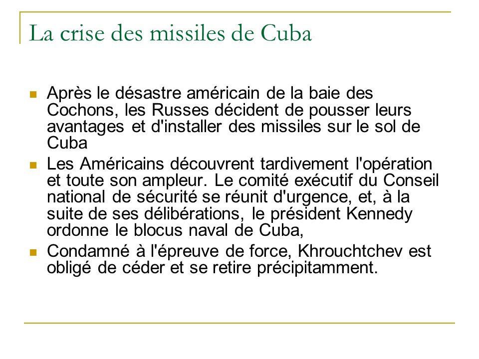 La crise des missiles de Cuba En 1959, Fidel Castro renverse Batista, président dictateur de Cuba.