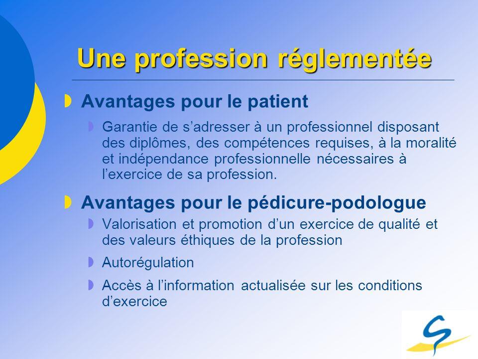 Une profession réglementée Avantages pour le patient Garantie de sadresser à un professionnel disposant des diplômes, des compétences requises, à la m