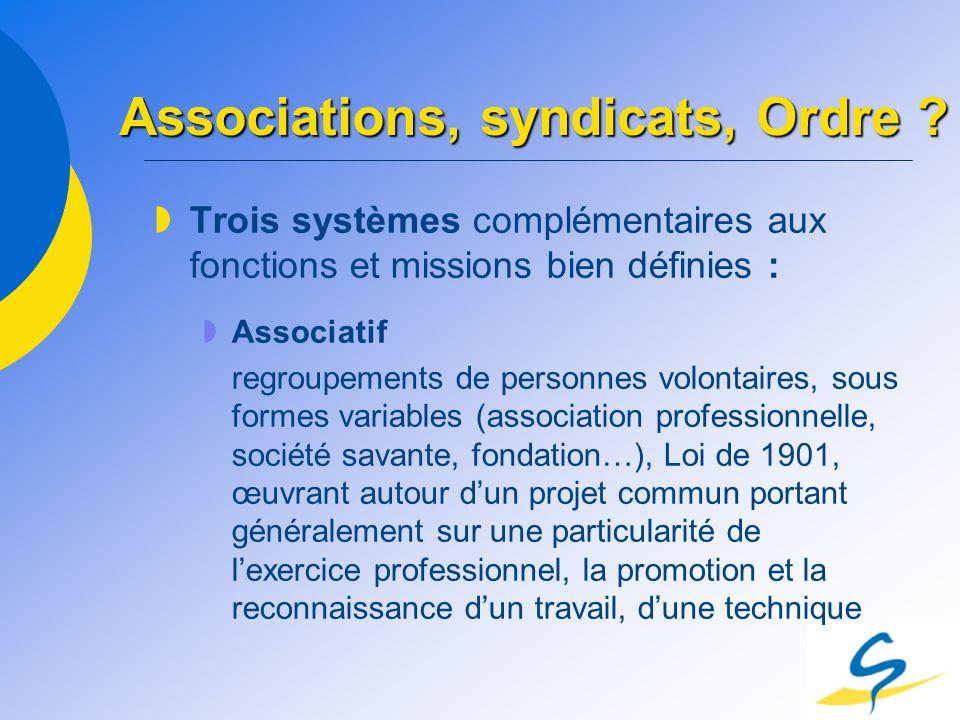 Associations, syndicats, Ordre ? Trois systèmes complémentaires aux fonctions et missions bien définies : Associatif regroupements de personnes volont