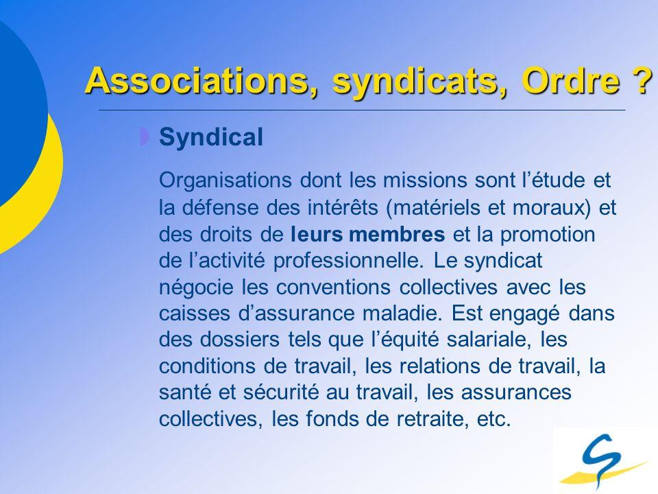 Syndical Organisations dont les missions sont létude et la défense des intérêts (matériels et moraux) et des droits de leurs membres et la promotion d