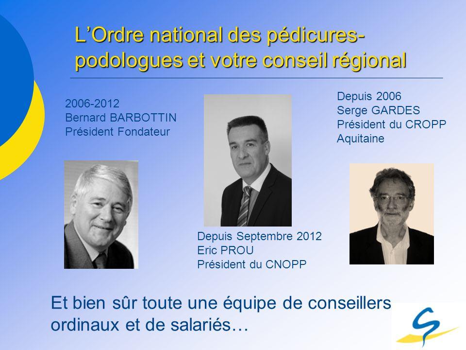 LOrdre national des pédicures- podologues et votre conseil régional 2006-2012 Bernard BARBOTTIN Président Fondateur Depuis Septembre 2012 Eric PROU Pr