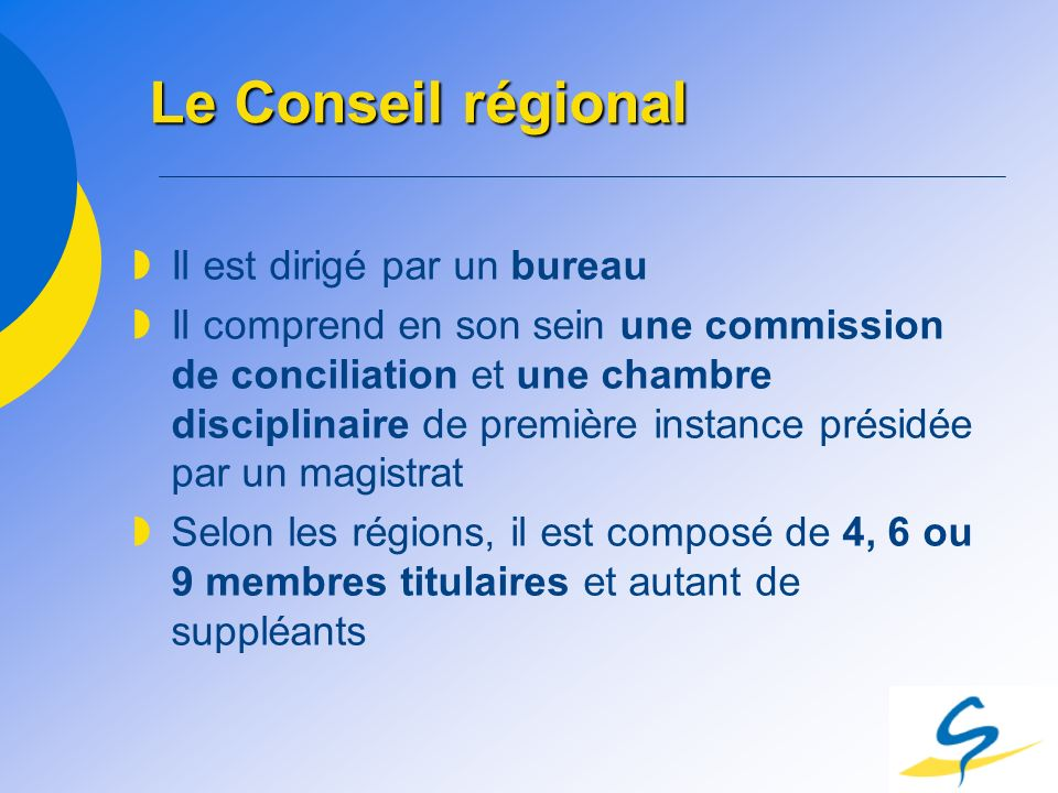 Le Conseil régional Il est dirigé par un bureau Il comprend en son sein une commission de conciliation et une chambre disciplinaire de première instan