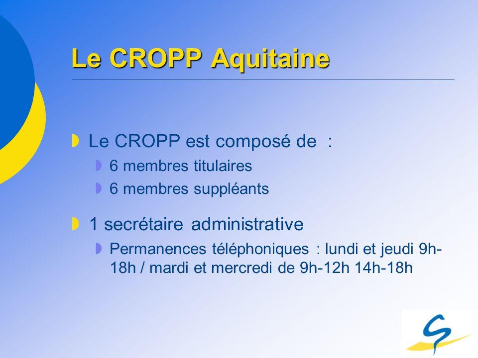 Le CROPP Aquitaine Le CROPP est composé de : 6 membres titulaires 6 membres suppléants 1 secrétaire administrative Permanences téléphoniques : lundi e