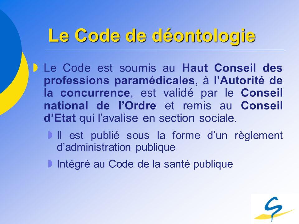 Le Code de déontologie Le Code est soumis au Haut Conseil des professions paramédicales, à lAutorité de la concurrence, est validé par le Conseil nati
