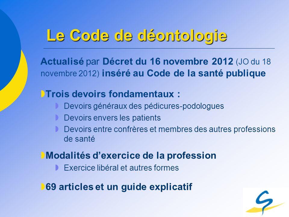Le Code de déontologie Actualisé par Décret du 16 novembre 2012 (JO du 18 novembre 2012) inséré au Code de la santé publique Trois devoirs fondamentau