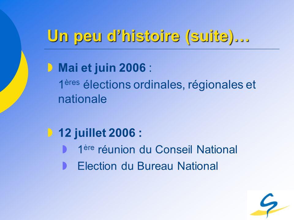 Un peu dhistoire (suite)… Mai et juin 2006 : 1 ères élections ordinales, régionales et nationale 12 juillet 2006 : 1 ère réunion du Conseil National E