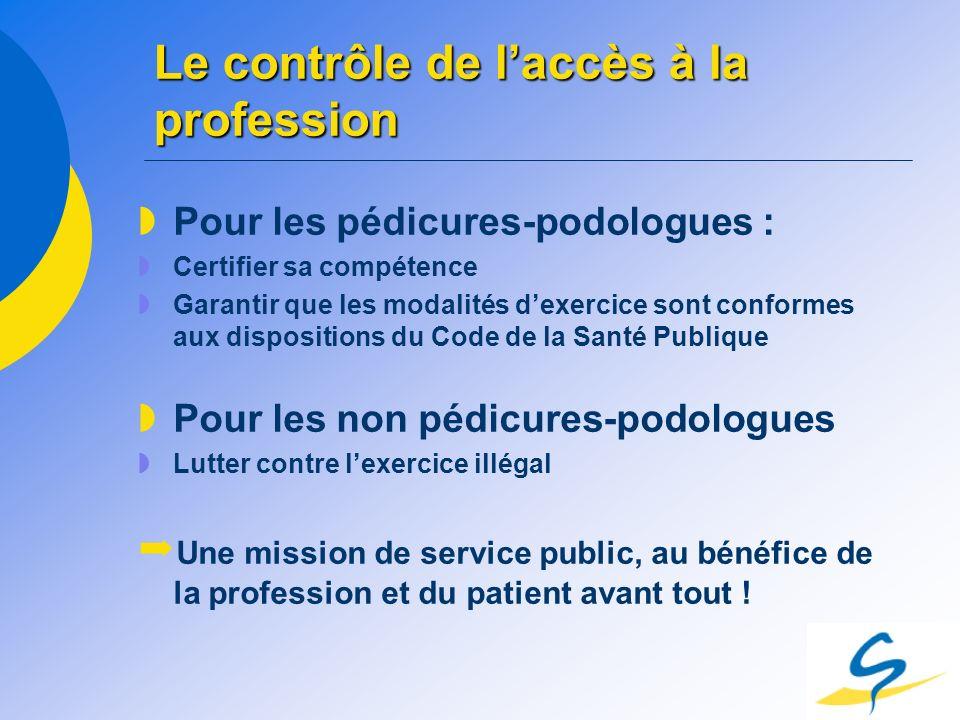 Le contrôle de laccès à la profession Pour les pédicures-podologues : Certifier sa compétence Garantir que les modalités dexercice sont conformes aux