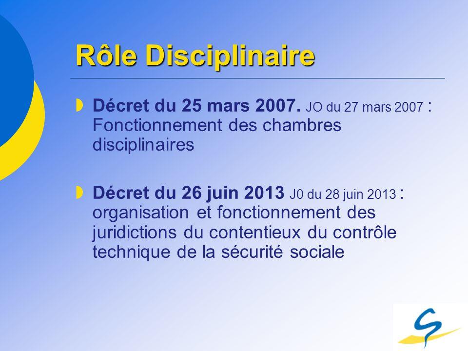 Rôle Disciplinaire Décret du 25 mars 2007. JO du 27 mars 2007 : Fonctionnement des chambres disciplinaires Décret du 26 juin 2013 J0 du 28 juin 2013 :