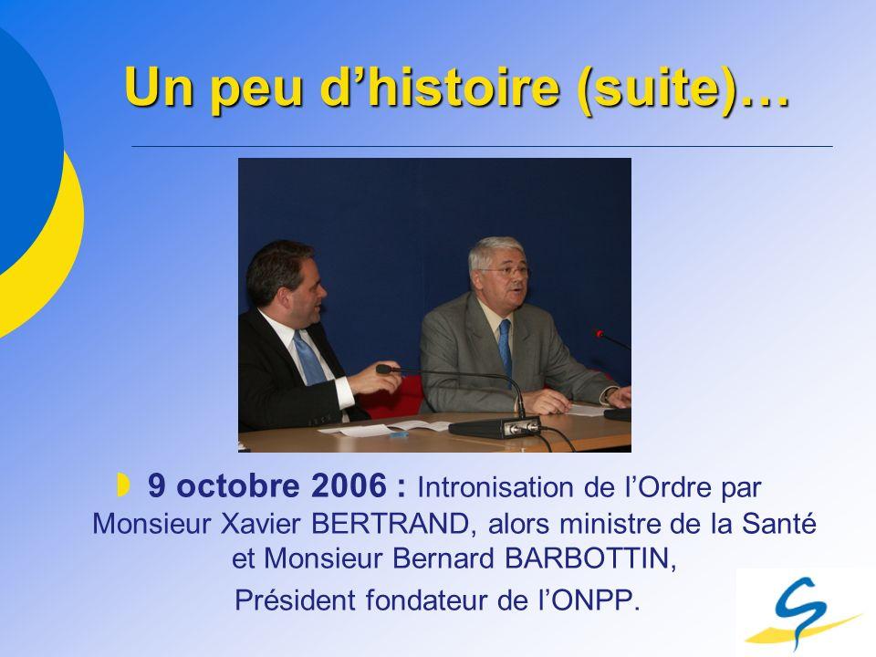 Un peu dhistoire (suite)… 9 octobre 2006 : Intronisation de lOrdre par Monsieur Xavier BERTRAND, alors ministre de la Santé et Monsieur Bernard BARBOT