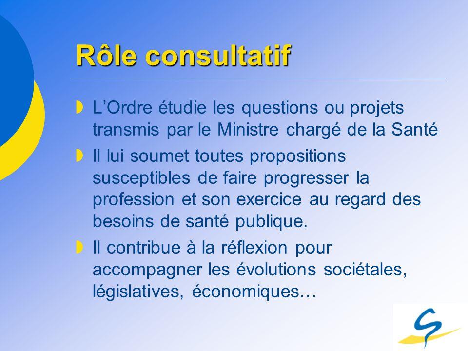 Rôle consultatif LOrdre étudie les questions ou projets transmis par le Ministre chargé de la Santé Il lui soumet toutes propositions susceptibles de