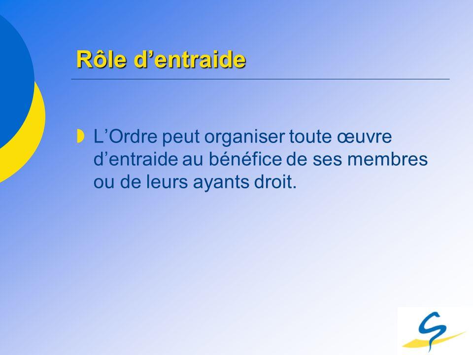 Rôle dentraide LOrdre peut organiser toute œuvre dentraide au bénéfice de ses membres ou de leurs ayants droit.